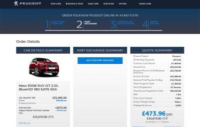 Peugeot - comenzi on-line Marea Britanie
